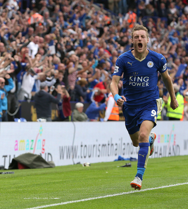 Leicester City's Jamie Vardy celebrates scoring his sides second goal <br /> <br /> Photographer Stephen White/CameraSport<br /> <br /> Football - Barclays Premiership - Leicester City v Aston Villa - Sunday 13th September 2015 - King Power Stadium - Leicester<br /> <br /> &copy; CameraSport - 43 Linden Ave. Countesthorpe. Leicester. England. LE8 5PG - Tel: +44 (0) 116 277 4147 - admin@camerasport.com - www.camerasport.com
