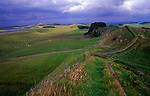 Resistant rock of the Whin Sill forms Steel Rigg part of Hadrian's Wall, Northumberland, England