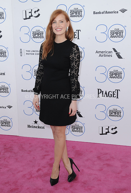 WWW.ACEPIXS.COM<br /> <br /> February 21 2015, LA<br /> <br /> Jessica Chastain arriving at the 2015 Film Independent Spirit Awards at Santa Monica Beach on February 21, 2015 in Santa Monica, California.<br /> <br /> By Line: Peter West/ACE Pictures<br /> <br /> <br /> ACE Pictures, Inc.<br /> tel: 646 769 0430<br /> Email: info@acepixs.com<br /> www.acepixs.com