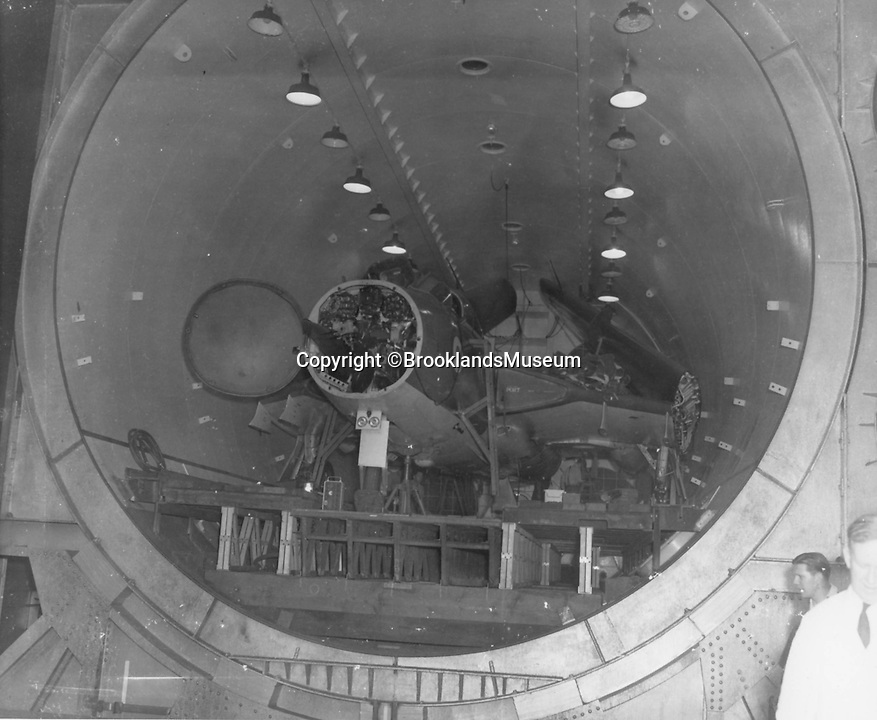 BNPS.co.uk (01202 558833)<br /> Pic: BrooklandsMuseum/BNPS<br /> <br /> Whole Sea Vixen loaded in the chamber.<br /> <br /> The coldest of Cold War relics has opened to the public after years of secrecy. <br /> <br /> Barnes Wallis's amazing Stratosphere Chamber was built at Brooklands in 1947 to test aircraft in high altitude conditions of flight.<br /> <br /> Constructed from the hull of a nuclear submarine the 340 ton structure could replicate temperatures down to -60 centigrade at 60,000 feet, as well as blasting rain, sleet or snow at 40 kts through the sealed chamber.<br /> <br /> As well as aircraft the facility was also used to test naval equipment in freezing arctic conditions, and even the effects of icing on trawler rigging.<br /> <br /> The gigantic structure, containing the cockpit of a Viscount passenger aircraft, has now been spruced up and is open to the public at the Brooklands Museum in Weybridge.