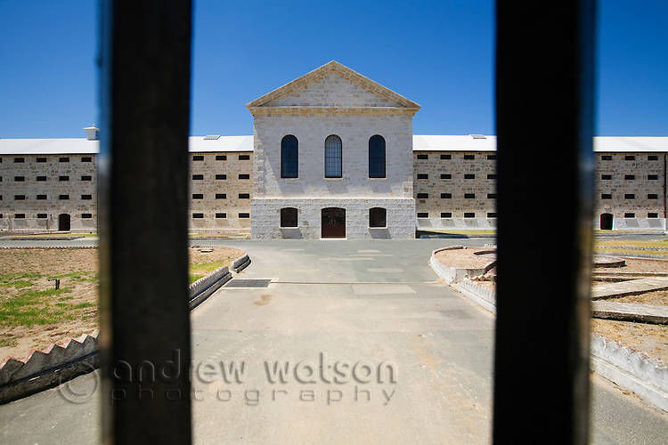 View through the gates of the Old Fremantle Prison.  Built by convict labour in 1855, the prison operated until 1991 and now houses a museum.  Fremantle, Western Australia, AUSTRALIA.