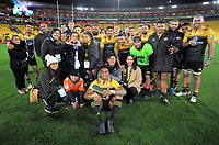 Julian Savea celebrates his 100th game after the Super Rugby match between the Hurricanes and Chiefs at Westpac Stadium in Wellington, New Zealand on Friday, 9 June 2017. Photo: Dave Lintott / lintottphoto.co.nz