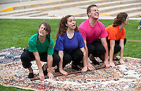 """Cast of the Occidental College Children's Theater production of """"Noah's Jurassic Ark"""" - Savannah Gilmore '15 (orange), Giulia Davis '13 (green), Sarah Martellaro '14 (purple), Aly Fritz '14 (red), Bo Lundgren '13 (pink) and Tristan Waldron '12 (blue). Directed by Jamie Angell. July 10, 2013 in the Remsen Bird Hillside Theater. (Photo by Marc Campos, Occidental College Photographer)"""