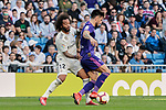 Real Madrid's Marcelo Vieira and Real Club Celta de Vigo's Brais Mendez during La Liga match between Real Madrid and Real Club Celta de Vigo at Santiago Bernabeu Stadium in Madrid, Spain. March 16, 2019. (ALTERPHOTOS/A. Perez Meca)