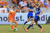 Houston, TX - Sunday June 19, 2016: Morgan Brian, Katie Bowen during a regular season National Women's Soccer League (NWSL) match between the Houston Dash and FC Kansas City at BBVA Compass Stadium.