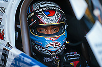 Jun 15, 2018; Bristol, TN, USA; NHRA top fuel driver Antron Brown during qualifying for the Thunder Valley Nationals at Bristol Dragway. Mandatory Credit: Mark J. Rebilas-USA TODAY Sports