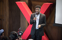 """Jacques Lesure '19 talks about """"Apathy Factories: Lack As Violence.""""<br /> Occidental College's second TEDx event, Choi Auditorium, April 2, 2016. Featuring talks on sustainability and global development by speakers that included five students, a faculty member and seven external speakers.<br /> (Photo by Marc Campos, Occidental College Photographer)"""