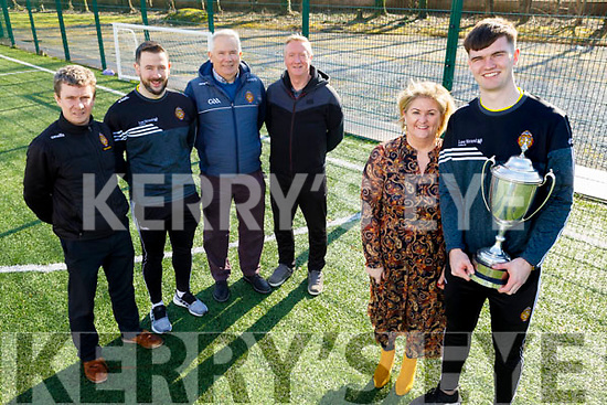 Captain of CBS The Green Corn Uí Mhuirí champions Sean Quilter pictured with principal Ann O'Callaghan, and back l-r: Tim McMahon, Mike Tim O'Sullivan, Neily O'Sullivan and Damien McLoughlin, members of the management team at the school.