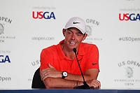 Rory McIlroy (NIR) speaks at a press conference during the Wednesday practice round of the 118th U.S. Open Championship at Shinnecock Hills Golf Club in Southampton, NY, USA. 13th June 2018.<br /> Picture: Golffile | Brian Spurlock<br /> <br /> <br /> All photo usage must carry mandatory copyright credit (&copy; Golffile | Brian Spurlock)
