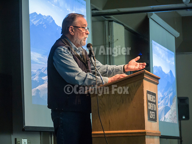 MC Sam Hipkins introduces Mark Volmer at Saturday at Shooting the West XXVII, Winnemucca, Nev.