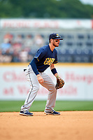 New Orleans Baby Cakes shortstop J.T. Riddle (10) during a game against the Nashville Sounds on April 30, 2017 at First Tennessee Park in Nashville, Tennessee.  The game was postponed due to inclement weather in the fourth inning.  (Mike Janes/Four Seam Images)