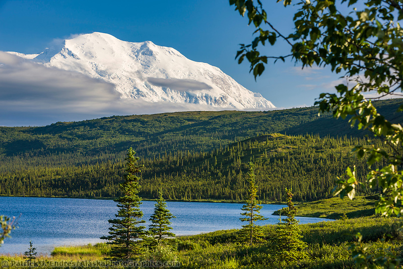 North peak of Mt. Denali and Wonder Lake, Denali National Park, Interior, Alaska.