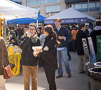 Foodies from around the city flock to opening day at the Smorgasburg in East River State Park in the Williamsburg neighborhood of Brooklyn in New York on Saturday, April 6, 2013. The marketplace features prepared and artisanal foods made in Brooklyn by small entrepreneurs. In the two years the market has been in operation it has provided a venue for numerous chefs and cooks to sell their wares, some of whom have grown into large successful businesses. (© Richard B. Levine)