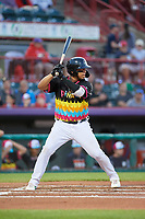 Erie Piñatas Isaac Paredes (18) at bat during an Eastern League game against the Las Ardillas Voladoras de Richmond on August 28, 2019 at UPMC Park in Erie, Pennsylvania.  Richmond defeated Erie 4-3 in the second game of a doubleheader.  (Mike Janes/Four Seam Images)