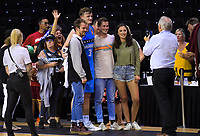 Finn Delany (Breakers) poses with supporters after the Australian National Basketball League match between Skycity Breakers and Illawarra Hawks at TSB Bank Arena in Wellington, New Zealand on Thursday, 14 February 2019. Photo: Dave Lintott / lintottphoto.co.nz