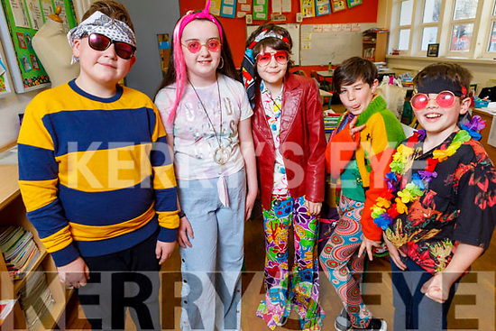 Borys Stepien, Alannah Moriarty, Charlie Kennelly, Martín O'Flahtery Segade and Eoghan Murphy ready for the stage at their Christmas Play in Scoil Eoin Balloonagh on Monday.
