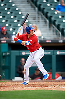 Buffalo Bisons Andy Burns (9) at bat during an International League game against the Indianapolis Indians on June 20, 2019 at Sahlen Field in Buffalo, New York.  Buffalo defeated Indianapolis 11-8  (Mike Janes/Four Seam Images)