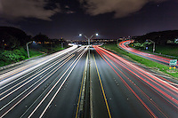 Long exposure of traffic on the H-1 freeway at night in Aiea, HI