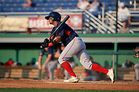 Lowell Spinners Antoni Flores (19) bats during a NY-Penn League game against the Batavia Muckdogs on July 10, 2019 at Dwyer Stadium in Batavia, New York.  Batavia defeated Lowell 8-6.  (Mike Janes/Four Seam Images)