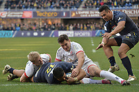 11th January 2020, Parc des Sports Marcel Michelin, Clermont-Ferrand, Auvergne-Rhône-Alpes, France; European Champions Cup Rugby Union, ASM Clermont versus Ulster;  George Moala (asm) vies over for his try