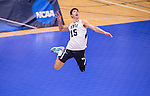 07 MAY: Branden Sander (15) of Brigham Young University serves the ball against Ohio State University during the Division I Men's Volleyball Championship held at Rec Hall on the Penn State University campus in University Park, PA. Ohio State defeated BYU 3-1 for the national title. Ben Solomon/NCAA Photos