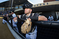 Logan Harvey (15) of the Wake Forest Demon Deacons waits for the game to start against the West Virginia Mountaineers in Game Four of the Winston-Salem Regional in the 2017 College World Series at David F. Couch Ballpark on June 3, 2017 in Winston-Salem, North Carolina.  The Demon Deacons walked-off the Mountaineers 4-3.  (Brian Westerholt/Four Seam Images)