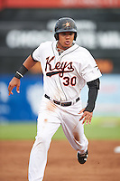 Frederick Keys third baseman Jomar Reyes (30) running the bases during a game against the Carolina Mudcats on June 4, 2016 at Nymeo Field at Harry Grove Stadium in Frederick, Maryland.  Frederick defeated Carolina 5-4 in eleven innings.  (Mike Janes/Four Seam Images)