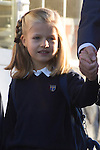 14.09.2012. Prince Felipe of Spain, Princess Letizia of Spain and their daughters Leonor and Sofia  arrive at 'Santa Maria de los Rosales' School in Aravaca near of Madrid, Spain. In the image Princess Leonor (Alterphotos/Marta Gonzalez)