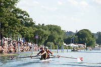 """Henley on Thames, United Kingdom, 3rd July 2018, Saturday,  """"Henley Royal Regatta"""",  Heat of the Silver Goblets and Nickalls' Challenge Cup, CRO M2-, Stroke Valent SINKOVIC, bow Martin SINKOVIC, View, Henley Reach, River Thames, Thames Valley, England, UK."""
