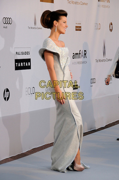 KATE BECKINSALE.arrivals at amfAR's Cinema Against AIDS 2010 benefit gala at the Hotel du Cap, Antibes, Cannes, France during the Cannes Film Festival.20th May 2010.amfAR full length long maxi dress one shoulder white silver diamante shiny sparkly sculpted side profile hair up .CAP/CAS.©Bob Cass/Capital Pictures.