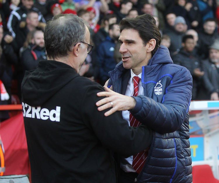 Leeds United's Marcelo Bielsa greets Nottingham Forest's Manager  Aitor Karanka<br /> <br /> Photographer Mick Walker/CameraSport<br /> <br /> The EFL Sky Bet Championship - Nottingham Forest v Leeds United - Tuesday 1st January 2019 - The City Ground - Nottingham<br /> <br /> World Copyright © 2019 CameraSport. All rights reserved. 43 Linden Ave. Countesthorpe. Leicester. England. LE8 5PG - Tel: +44 (0) 116 277 4147 - admin@camerasport.com - www.camerasport.com