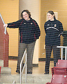 Courtney Kennedy (BC - Assistant Coach), Katie King (BC - Head Coach) - The Northeastern University Huskies tied Boston University Terriers 3-3 in the 2011 Beanpot consolation game on Tuesday, February 15, 2011, at Conte Forum in Chestnut Hill, Massachusetts.