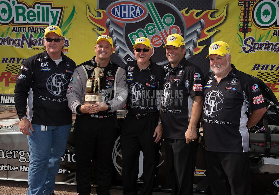 Apr. 28, 2013; Baytown, TX, USA: NHRA top fuel dragster driver Bob Vandergriff Jr celebrates with crew after winning the Spring Nationals at Royal Purple Raceway. Mandatory Credit: Mark J. Rebilas-