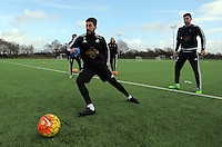 SWANSEA, WALES - JANUARY 28: Federico Fernandez (R) in action during the Swansea City Training Session on January 28, 2016 in Swansea, Wales.