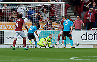 Alex Cairns of Fleetwood Town saves a shot from Billy Waters of Northampton Town at point blank during the Sky Bet League 1 match between Northampton Town and Fleetwood Town at Sixfields Stadium, Northampton, England on 12 August 2017. Photo by Alan  Stanford / PRiME Media Images.