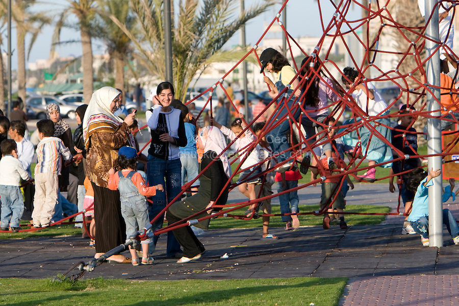 Tripoli, Libya, North Africa - Playground, Park, near the Green Square, Children on Climbing Aparatus.