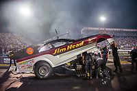 Aug 31, 2018; Clermont, IN, USA; NHRA funny car driver Jonnie Lindberg during qualifying for the US Nationals at Lucas Oil Raceway. Mandatory Credit: Mark J. Rebilas-USA TODAY Sports