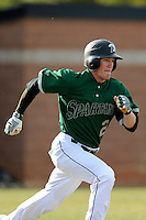Right fielder Tyler Lesch (2) of the University of South Carolina Upstate Spartans runs out a hit in a game against the Citadel Bulldogs on Tuesday, February, 18, 2014, at Cleveland S. Harley Park in Spartanburg, South Carolina. Upstate won, 6-2. (Tom Priddy/Four Seam Images)