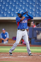 AZL Rangers Rafy Barete (21) at bat during an Arizona League game against the AZL Brewers Blue on July 11, 2019 at American Family Fields of Phoenix in Phoenix, Arizona. The AZL Rangers defeated the AZL Brewers Blue 5-2. (Zachary Lucy/Four Seam Images)