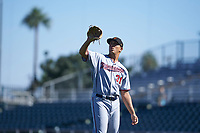 Surprise Saguaros relief pitcher Andrew Vasquez (31), of the Minnesota Twins organization, during an Arizona Fall League game against the Scottsdale Scorpions on October 27, 2017 at Scottsdale Stadium in Scottsdale, Arizona. The Scorpions defeated the Saguaros 6-5. (Zachary Lucy/Four Seam Images)