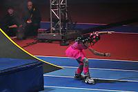 Photo: Tony Oudot/Richard Lane Photography. Aviva Grand Prix. 20/02/2010. .Extreme High Jump. Inline Skater Jenna Downing.