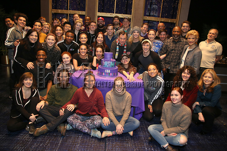 """The cast and crew of Broadway's """"The Prom"""" Celebrates 100 Performances at the Longacre Theatre on February 13, 2019 in New York City."""