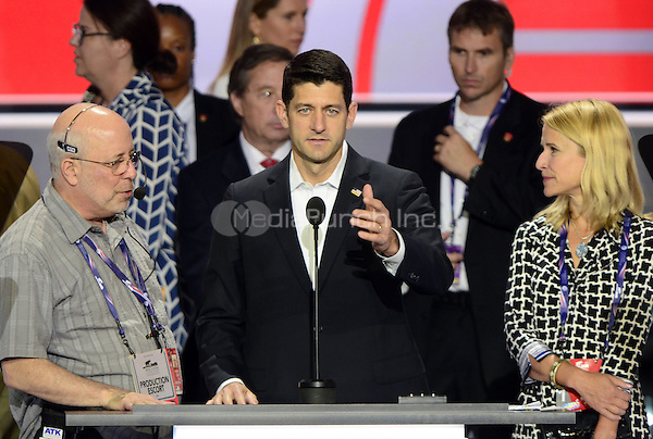 United States Speaker of the House Paul Ryan (Republican of Wisconsin) and his wife Janna participate in a rehearsal prior to the 2016 Republican National Convention in Cleveland, Ohio on Sunday, July 17, 2016.  Standing behind them and pointing is US .<br /> Credit: Ron Sachs / CNP/MediaPunch<br /> (RESTRICTION: NO New York or New Jersey Newspapers or newspapers within a 75 mile radius of New York City)