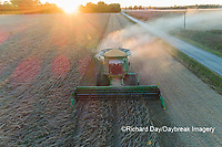 63801-13305 Harvesting soybeans at sunset in fall-aerial  Marion Co. IL