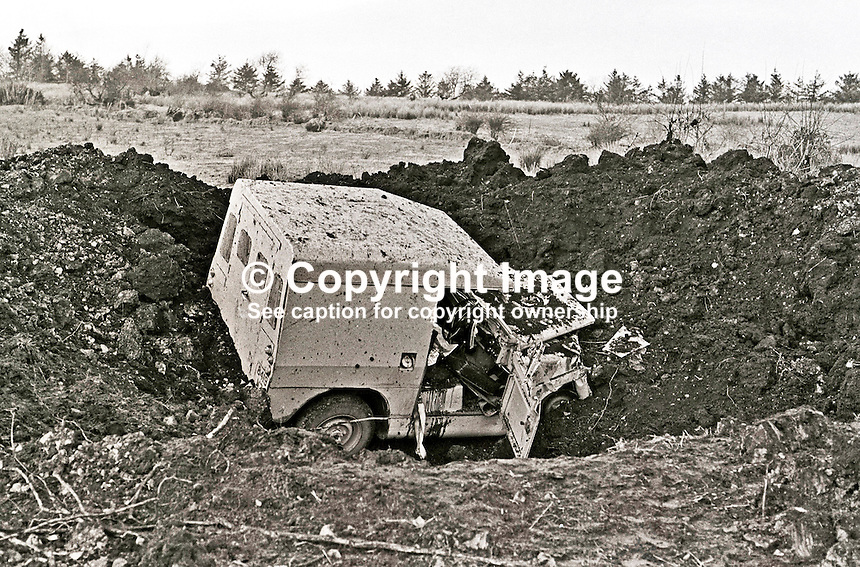 IRA landmine explosion at Cappagh, near Pomeroy, Co Tyrone, in which Reserve Policeman, Henry Sandford, from nearby Cookstown, died. A colleague was seriously injured in the incident which left their landrover in a crater 35 ft wide and 10 ft deep. 197301140028.<br />