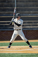 Kevin Conway (7) of the Wake Forest Demon Deacons at bat against the Richmond Spiders at David F. Couch Ballpark on March 6, 2016 in Winston-Salem, North Carolina.  The Demon Deacons defeated the Spiders 17-4.  (Brian Westerholt/Four Seam Images)