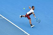 11th January 2018, Sydney Olympic Park Tennis Centre, Sydney, Australia; Sydney International Tennis,quarter final; Fabio Fognini (ITA) hits a backhand in his match against Adrian Mannarino (ITA)
