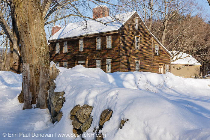 Hartwell Tavern at Minute Man National Historical Park in Lincoln, Massachusetts USA during the winter months. This is a restored 18th century tavern along the Battle Road Trail.