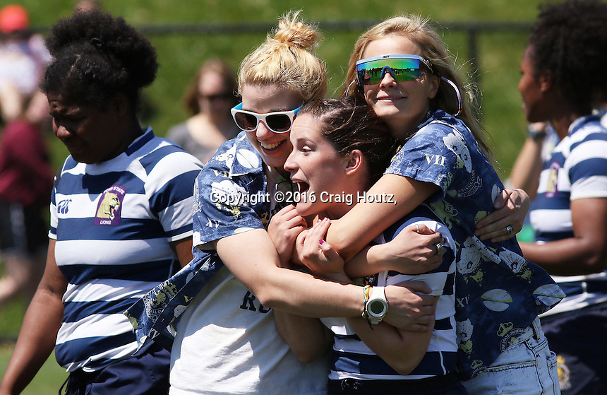 Penn State women's rugby celebrates their win against Life University women's rugby in the D1 Elite Rugby National Championship semi-final on April 24, 2016. Penn State won 13-7. Photo/© 2016 Craig Houtz