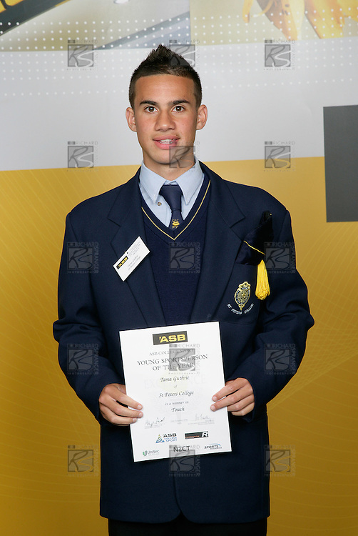 Touch Boys Winner - Tama Guthrie. ASB College Sport Young Sportsperson of the Year Awards 2006, held at Eden Park on Thursday 16th of November 2006.<br />